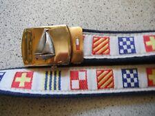 Vintage nautical preppy sailing Regatta flags Belt boating brass buckle Usa