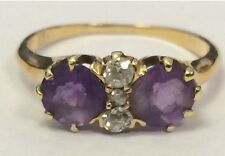SOLID 14K Yellow Gold Amethyst and Diamond Ring Size 5.75 BEAUTIFUL!