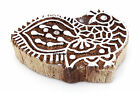 Peacock Brown Textile Hand Carved Stamp Block Print Wooden Indian Wood Block Art