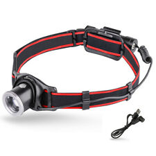 USB Rechargeable LED Headlamp, 90° Adjustable Focus Zoomable Head Torch Light