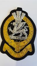 QUEEN'S REGIMENT - Blazer Badge Silver/Gold Wire