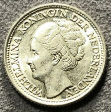 1944 P Netherlands WILHELMINA 25 Cents Silver AU KM# 164