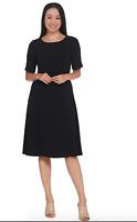 Dennis Basso Caviar Crepe Elbow-Sleeve Dress with Beaded Trim -Black/Regular 8