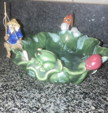 Rare Fishermans Fortune Fitz & Floyd Pottery Mud Man Fishing With Frog And Fish