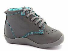 Vertbaudet Infants Baby Boys UK 2 EU 18 Grey Leather First Steps Ankle Boots NEW