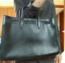 Authentic LOEWE Black Leather Tote Hand Bag-Simple Designer Quality Business