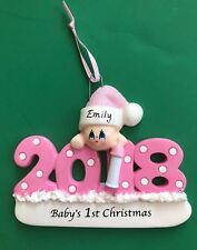 Baby's First Christmas Ornament - Girl- Personalized