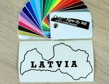 LATVIA Latvija Map Car Sticker Vinyl Decal Adhesive Window Bumper Tailgate BLACK