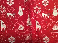 """WINTER FROST Christmas Deer Snowflake FLANNEL fabric red Henry Glass 45""""w, BTY"""