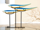 Mass 56cm Wide Murano Sommerso Art Glass Ocean Fish Sculptures On Metal Stand