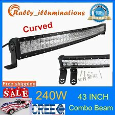 240W 43'' LED Light Bar Combo Curved Work Offroad Truck Boat SUV ATV 120W RALLY
