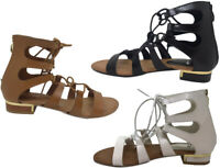 WOMENS LACE UP CROSS OVER WRAP AROUND STRAPPY GLADIATORS SANDALS SIZE UK 3-8