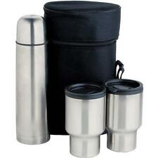0.5L FLASK & 2 MUGS WITH CARRY CASE STAINLESS STEEL 0.5LTR VACUUM THERMOS BNIB