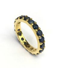 14k Solid Yellow Gold Eternity Band Ring, Natural Sapphire 2.5CT, Sz 8
