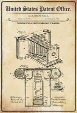 US Patent Fotokamera 1902 Blechschild Schild gewölbt Tin Sign 20 x 30 cm P0299