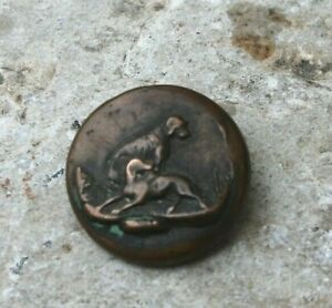 ancien bouton a décor de chiens