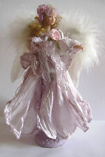 A LILAC  ANGEL TASSEL DOLL Porcelain Head Torso & Arms , on Stand.Feather Wings