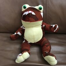 """Brown Camouflage Frog Green Eyes Yellow Belly Plush 10"""" K & K Toy Lovey"""