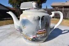 """Vintage Kutani China Tea Pot Hand Painted Japan 7"""" Tall."""