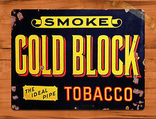 "TIN SIGN ""Gold Block Tobacco""  Rustic Garage Home Wall Decor"