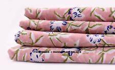 10 Yard Indian Handmade Floral Block Printed Fabric Sanganeri Crafting Sewing