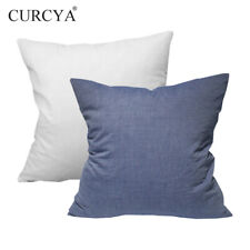 CURCYA Washed Cotton Bedding Pillowcases Chair Sofa Cushion Pillow Covers Decor