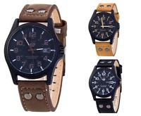 Armbanduhr Herren Uhr Militär Sport Leder Geschenk Analog Quarz Military Braun