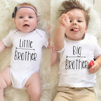 Cotton Little Big Brother Matching Clothes Kid Baby Boys Romper Bodysuit T-shirt