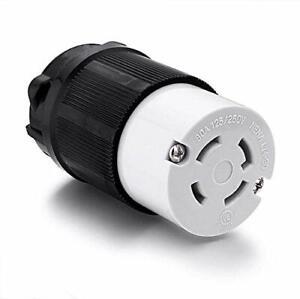 Miady NEMA L14-30R Generator Plug 30 Amp 4-Prong Industrial Grade Locking Fem...