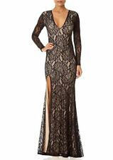 FOREVER UNIQUE Kelsie Backless Long Sleeve V-Neck Formal Lace Gown FREE SHIPPING