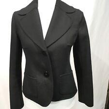 Women's Blazer Jacket Black Soft Flannel Cropped Length Size Medium