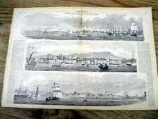 <1860 illustrated newspaper LARGE POSTER engraving VIEWS OF MONTREAL CANADA