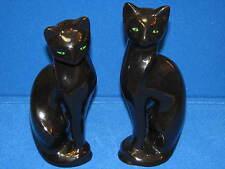 "2 11"" Lot Vintage Ceramic Black Siamese Tall Cats Green Eye Vintage Old Set Pair"
