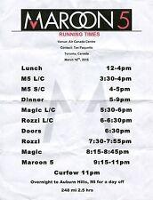 Maroon 5 2015 Tour Setlist! Air Canada Centre Toronto, Canada concert Set List