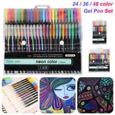 24/36/48 Metallic Neon Gel Pen Set Watercolor Marker Pastel Glitter Draw Paint