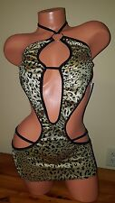 Exotic Sexy Clubwear Dancewear gold cat print foil mini dress o-ring M