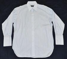 ROBERT TALBOTT French Cuff Dress Shirt BESPOKE Men's 17 33 XL Striped Light Blue