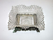 Beautiful Vintage Mememtos Art Cut Glass Square Scalloped Bowl With Silver Base