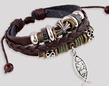 Adjustable Leather Jesus Bracelet Christmas Birthday Present Religious Bangle