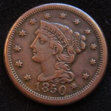 1850  BRAIDED HAIR  LARGE  CENT VF - XF QUALITY   COIN; Well Struck