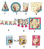 Set for party Masha and the Bear plate glass whistle supplies birthday favors