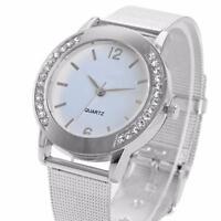 Fashion Women Crystal Silver Stainless Steel Analog Quartz Wrist Watch
