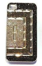 SwanCrystal Glam Case for iPhone 4 &  4S  Black Grey Clear Rhinestone Sparkly