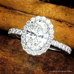 1.60ctw Natural Oval Cut Halo Pave Diamond Engagement Ring H-VVS2 GIA - Platinum