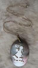 "Vintage Oval Carved Mother Of Pearl Girl Dog Plant 18"" 925 Silver Chain Necklace"