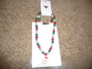 NEW NWT Childrens Place pretty beaded Christmas necklace/bracelet set PRETTY