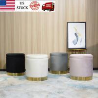 Velvet Pouffe Foot Stool Storage Ottoman Seat Round Footrest Living Room Bedroom