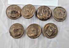 Old Vintage 7 Pcs  Coat Buttons National Emblem Four Lions Lion Capital India