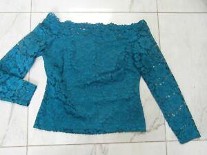 fabulous teal Next lace bardot blouse size 14