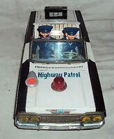 DAIYA BATTERY OPERATED POLICE PATROL TINPLATE TOY 1970s Vintage  CAR VERY RARE